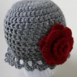 Gray Ruffle cloche with Dee..