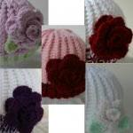 Newborn Hat with Deep Red R..