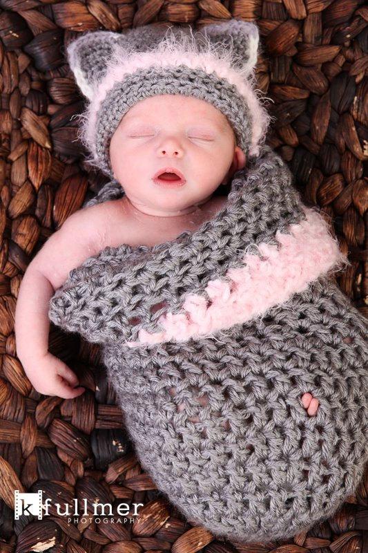 Crochet Cat Baby Cocoon Pattern : Newborn Kitty Cocoon Set With Kitty Hat, Photo Prop on Luulla