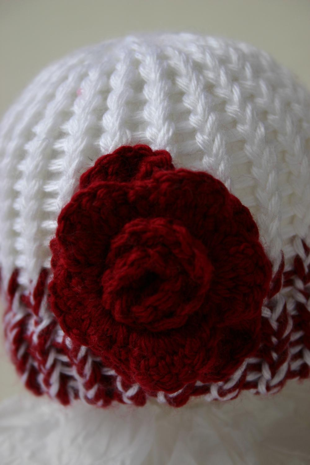 Newborn Hat with Deep Red Rose