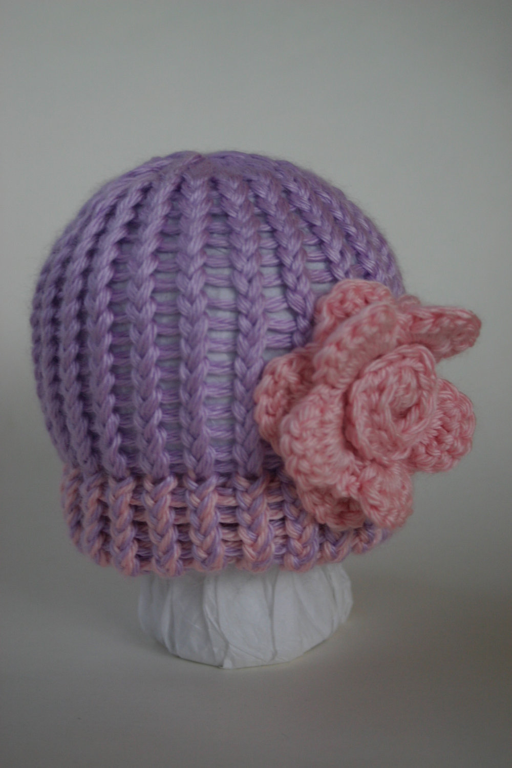 Lavender Rose newborn hat with Pink Rose, Sophie Collection