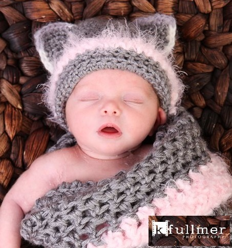 Newborn Crochet Cat Hat Pattern : PDF Crochet PATTERN, Newborn Kitty Hat With Cocoon Pattern ...