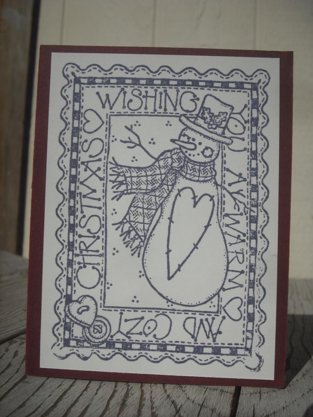 Sale handmade christmas card handmade snowman card on luulla for Handmade snowman christmas cards