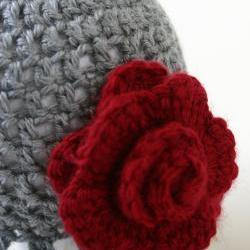 Gray Ruffle cloche with Deep Red Rose, Newborn Hat