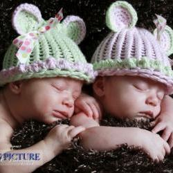 Twin Hat set, Cotton Teddy Bear hats, newborn