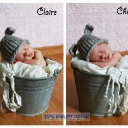 Twin hat set, Mary's Other Little Lamb hats, newborn hat, photo prop