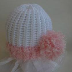 Pink Side Pom newborn hat,