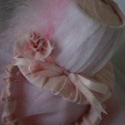 Pink top hat with feathers for small dog, Maggie line, photo prop