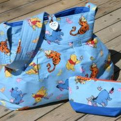 SALE OOAK Wide Bottom Handmade Pooh fabric Diaper Bag with zipper bag combo- Ready to Ship